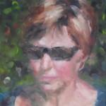 Liesbeth Veenhof, Zelfportret 2014, 70 X 50 cm, olieverf op doek