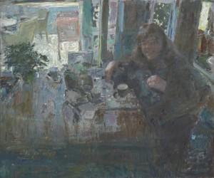 Peter B. van Houten 'Haar lach', 2014, olieverf op paneel, 100 x120