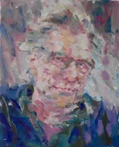 Het uitgekozen portret 'Jan Mulder' van Niels Smits van Burgst tijdens het tv programma 'Sterren op het doek' op 01-10-2015
