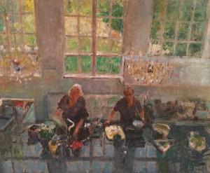 Peter B. van Houten. 'M en A in de keuken, van bovenaf gezien', 2015, olieverf, 100 x 120