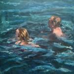 Yvonne Prinsen, Zwemmers 2015 Olieverf op paneel , 100x100