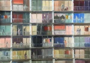 Melda Wibawa, ' zonder titel', olieverf op papier: 24 x 33 cm