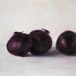 Melda Wibawa, 'Stilleven met rode uien', olieverf op papier, 24 x 33 cm