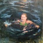 Yvonne Prinsen, 'Zwemmen', 2015, olieverf op paneel, 100x100