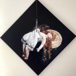 Marjan de Jonge, ' Hanging loose', 60 x 60, olieverf, 2016