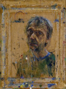 Sam Drukker. Zelfportret olieverf op hout 65 x 48 cm 2015