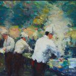 Jia Bei Le, 'Wokrestaurant' Olieverf op linnen, 100x150, 2016