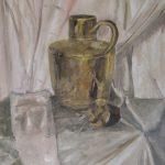 Rob van Duren, na een masterclass van Cees Booij over 'schilderen van koper, zilver, glas'.