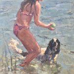 Yvonne Prinsen, olieverf op papier, 'Kom op met die bal', 110 x 70