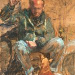 Yvonne Prinsen, man met bal en hond, olieverf op papier, 2017, 33 x 24 cm