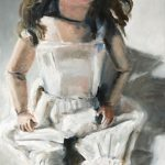 Marjan de Jonge, John's doll', olieverf op doek, 60 x 100, 2017