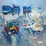 Melda Wibawa, 'Rain on me 2', olieverf op linnen, 60 x 60, 2018