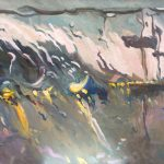 Melda Wibawa, 'Rain on me', olieverf op linnen, 70 x 180, 2018