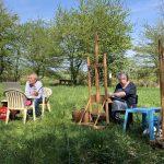 Buiten schilderen, 19 april 2018, onder leiding van Peter B. van Houten
