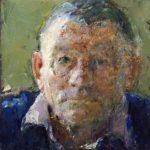 Detail 'Portret Bernlef met mistig duinlandschap', 30 x 60, olieverf, 2008, verkocht