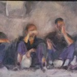Yteke van der Wal, 'Schaft', 2016, olieverf op paneel, 22 x 82