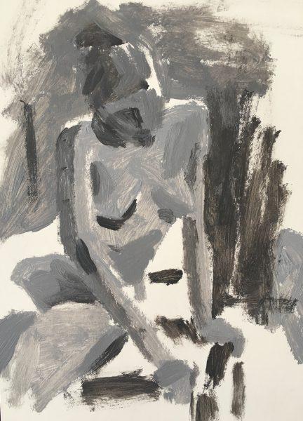Alette de Groot, Model, vijf minuten standen, acryl, 2016