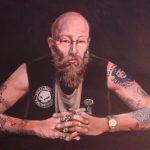 Prof. dr. Pieter Adriaans, gastdocent kunstfilosofie 'Portret van Ewout Adriaans', Acryl op doek, 50 x 70 cm)