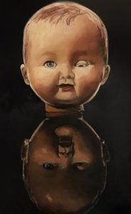 Marjan de Jonge, 'Lazy eye', 2017, 100 x 60, olieverf op doek