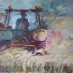 Ingrid Struijs 'Tractor bij droogte', 50-x-70 olieverf op canvas 2018