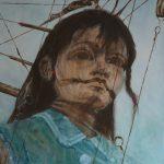 Ella Detmar, Het kleine reuze meisje, olieverf, 2018, 50-x-50
