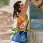 Margôt Ritman, 'Het meisje en de vis in de Mekongdelta', olieverf op doek, 30x42, 2018