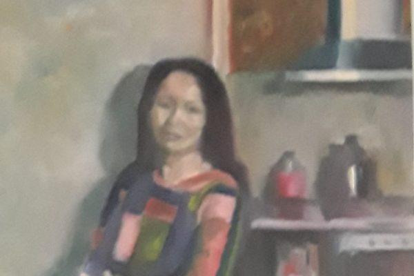 Jaap Veenhouwer, (detail) olieverf op paneel, 60 x 40, 2018