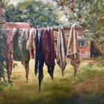 """Marjan de Jonge, """"De vuile was buiten gehangen..."""", Olieverf op doek, 60 x 80, 2018"""