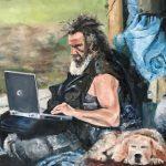 Marjan de Jonge, 'Thuis-werken', 70 x 90, olieverf op doek, 2018