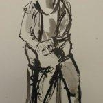 Angelien Coco Martin, 'zittend figuur', Oost-Indische inkt op papier, 20x30, 2018