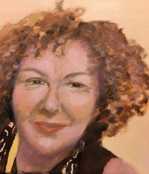 Lucy Vreeswijk, Zelfportret, 30 x 30, olieverf op doek, 2018