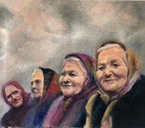 Jaap Veenhouwer, 'Vier dames', olieverf, 60 x 70, 2019