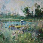 Ingrid Struijs, 'Rijn pont bij Pannerden', olieverf, 2019