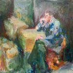 Esther Eggink, Studie gemaakt tijdens de les van Niels Smits van Burgst, olie op doek 100 bij 80cm, 2020