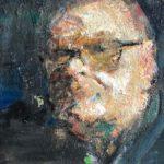 Pastoor (zelfportret in beweging), 40 x 30, olieverf op linnendoek, 2020