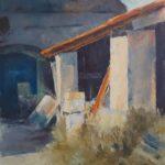 Arjen van der Schaaf, 'Tuin in Frankrijk', olieverf op plaat, 30 x 24, 2020